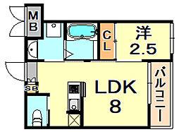 阪神本線 芦屋駅 徒歩7分の賃貸マンション 3階1LDKの間取り