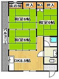 坂田アパート[1号室]の間取り