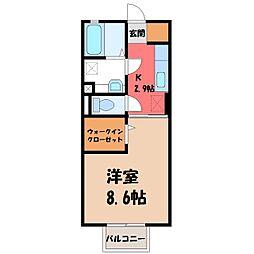D-room思川アジュール C 1階1Kの間取り