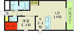 Osaka Metro今里筋線 新森古市駅 徒歩3分の賃貸マンション 2階1LDKの間取り