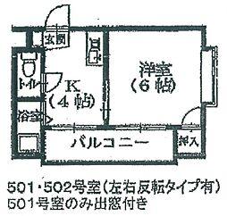 コスモハイツ中央[502号室]の間取り