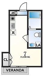 京王線 初台駅 徒歩4分の賃貸アパート 2階ワンルームの間取り