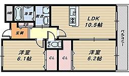 大阪府和泉市箕形町4丁目の賃貸マンションの間取り