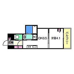Osaka Metro御堂筋線 あびこ駅 徒歩8分の賃貸マンション 6階1DKの間取り