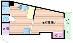 阪急千里線 南千里駅 徒歩22分の賃貸マンション 6階1Kの間取り
