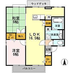 愛知県豊橋市御園町の賃貸アパートの間取り