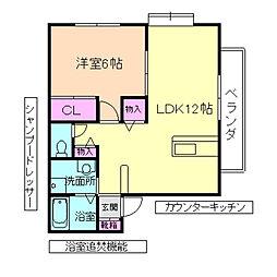 大阪府豊中市本町4丁目の賃貸アパートの間取り