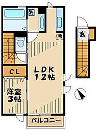 クレール多摩 2階1LDKの間取り