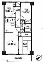 神奈川県横浜市青葉区新石川1丁目の賃貸マンションの間取り