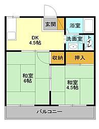 JR高崎線 宮原駅 徒歩14分の賃貸アパート 1階2Kの間取り