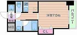 Osaka Metro谷町線 四天王寺前夕陽ヶ丘駅 徒歩4分の賃貸マンション 2階1Kの間取り