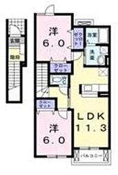 大阪府堺市美原区黒山の賃貸アパートの間取り