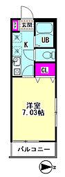 Polaris Haneda 3階1Kの間取り