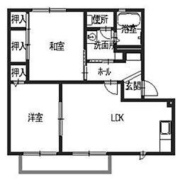 バリュージュ・IBARA・夢み台 1階2LDKの間取り