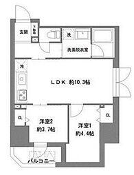 ラ・ヴィータ東上野 8階2LDKの間取り