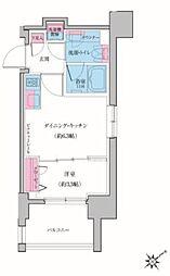 東急池上線 雪が谷大塚駅 徒歩3分の賃貸マンション 6階1DKの間取り