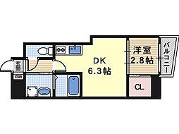 Osaka Metro谷町線 四天王寺前夕陽ヶ丘駅 徒歩5分の賃貸マンション 12階1DKの間取り