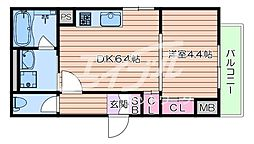 Osaka Metro今里筋線 蒲生四丁目駅 徒歩7分の賃貸マンション 1階1DKの間取り