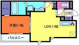 兵庫県神戸市中央区北野町1丁目の賃貸アパートの間取り