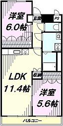 JR青梅線 福生駅 バス10分 花之岡下車 徒歩5分の賃貸アパート 2階2LDKの間取り