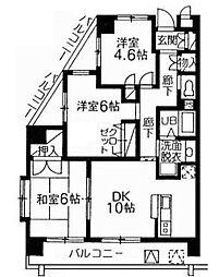 西武新宿線 下井草駅 徒歩7分の賃貸マンション 3階3LDKの間取り