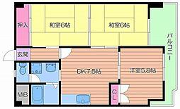 京阪本線 森小路駅 徒歩4分の賃貸マンション 5階3DKの間取り