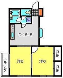 神奈川県横浜市磯子区田中2丁目の賃貸アパートの間取り