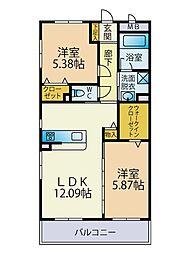 (仮称)篠原東3丁目ビル 3階2LDKの間取り