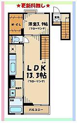 京王線 東府中駅 徒歩13分の賃貸マンション 4階1LDKの間取り