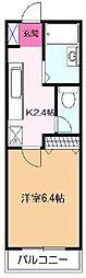 東急田園都市線 たまプラーザ駅 徒歩4分の賃貸マンション 5階1Kの間取り