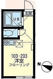 神奈川県川崎市宮前区初山2丁目の賃貸アパートの間取り