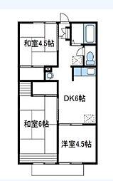 神奈川県相模原市南区新磯野3丁目の賃貸アパートの間取り