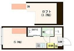 ヴィラ・エスポワール蒲田 2階ワンルームの間取り