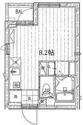 アマックス五反野 4階ワンルームの間取り