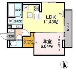 (仮)D-room長峰A棟 1階1LDKの間取り