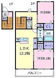 ウエストカンパーニュ[2階]の間取り