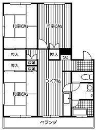 コーポ岩戸[3階]の間取り