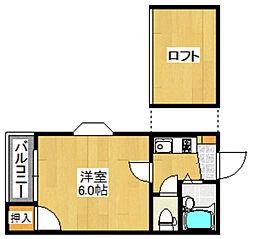 福岡県福岡市早良区荒江2丁目の賃貸アパートの間取り