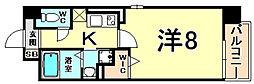阪神本線 尼崎駅 徒歩5分の賃貸マンション 8階1Kの間取り