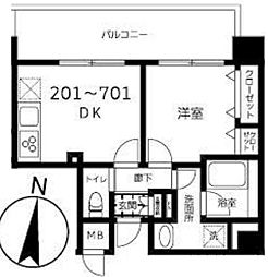 東京メトロ半蔵門線 錦糸町駅 徒歩9分の賃貸マンション 4階1DKの間取り