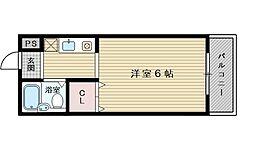 阪急京都本線 上新庄駅 徒歩14分の賃貸マンション 4階ワンルームの間取り