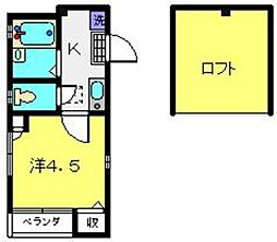 神奈川県横浜市神奈川区神之木町の賃貸アパートの間取り