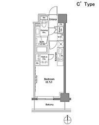 東京メトロ日比谷線 仲御徒町駅 徒歩3分の賃貸マンション 2階ワンルームの間取り