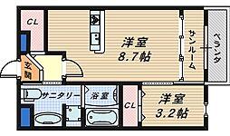 大阪府和泉市万町の賃貸アパートの間取り