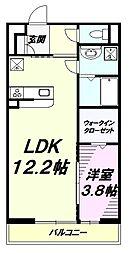 JR中央線 高尾駅 徒歩6分の賃貸アパート 2階1LDKの間取り