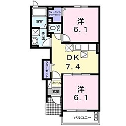メゾン・リュミエールIII 1階2DKの間取り