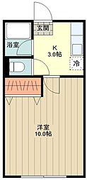 武蔵野ハイツ 2階1Kの間取り