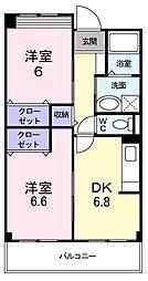 南海高野線 萩原天神駅 徒歩15分の賃貸マンション 3階2DKの間取り