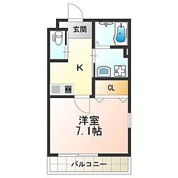 エム・ステージ矢田IIB 3階1Kの間取り