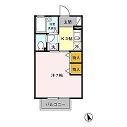 愛知県豊橋市南小池町の賃貸アパートの間取り